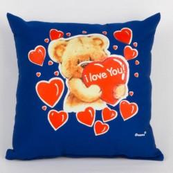 Svítící polštářek - Medvídek, I love You! - modrý