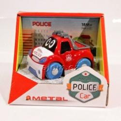 Autíčko kovové - policie - červené