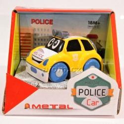 Autíčko kovové - policie - žluté