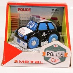 Autíčko kovové - policie - černé