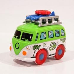 Kovový autobus na setrvačník - zelený