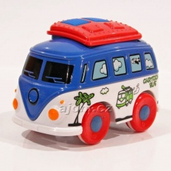 Kovový autobus na setrvačník - modrý