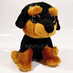 Plyšové štěně Dobrman - velké oči