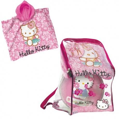 Dětská sada k vodě - pončo a míč v batůžku Hello Kitty