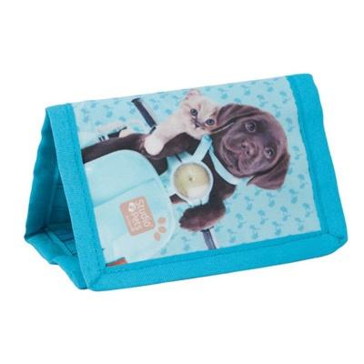 Dětská textilní peněženka modrá Pes a kočka