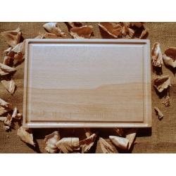 Kuchyňské prkénko dřevěné hranaté s drážkou 30x18cm