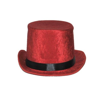 Klobouk cylindr sametový - červený