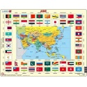 Puzzle Larsen - Mapa ASIE + vlajky