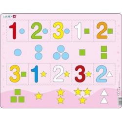 Puzzle Larsen - Čísla 1-3 s grafickými znaky