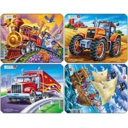 Puzzle Larsen - sada 4ks - piráti,traktor,truck,vlak