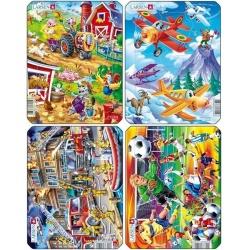 Puzzle Larsen - sada 4ks- Letadla,hasiči,farma,fotbal