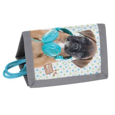 Dětská textilní peněženka Pes boxer se sluchátkama