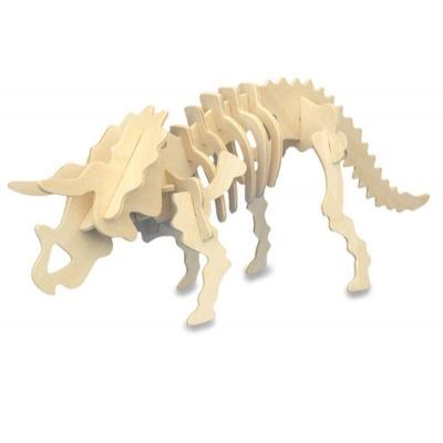 Dřevěné puzzle 3D skládačka Dino Triceratops