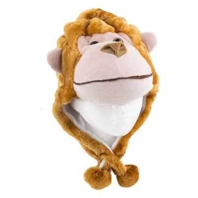 Dětská čepička s bambulemi - opička