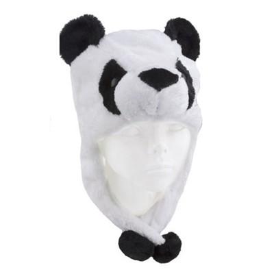 Dětská čepička s bambulemi - panda