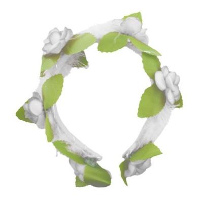 Čelenka s květy - bílá