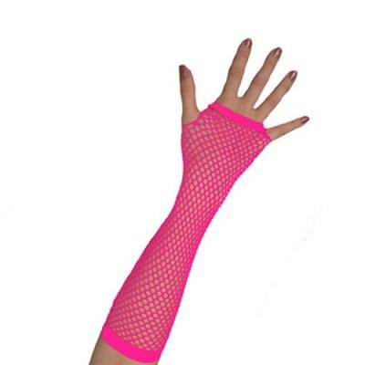 Rukavice síťovaná neon - růžová