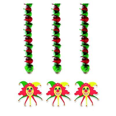 Závěsné dekorace spirály - klauni 3ks