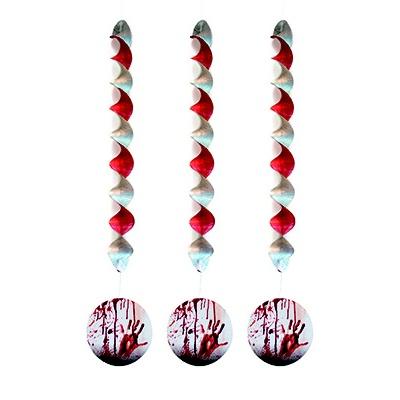 Závěsné dekorace spirály - krvavé 3ks