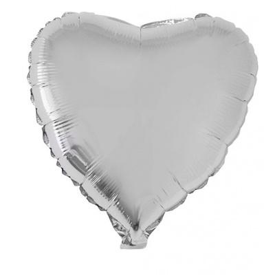 Foliový balónek - srdce stříbrné