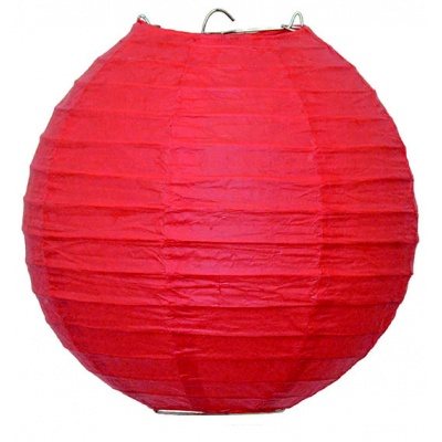 Papírový kulatý lampion - červený