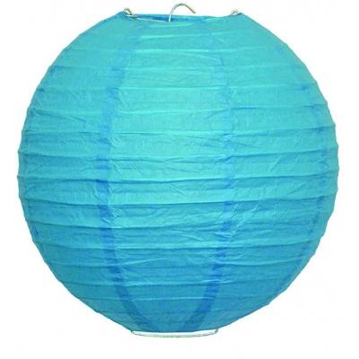 Papírový kulatý lampion - modrý