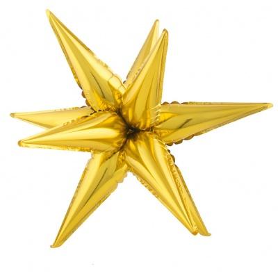 Foliový balónek - 3D hvězda velká zlatá