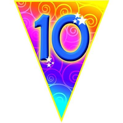 Vlajková narozeninová girlanda s číslem 10 délka 5m