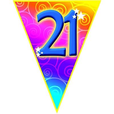 Vlajková narozeninová girlanda s číslem 21 délka 5m