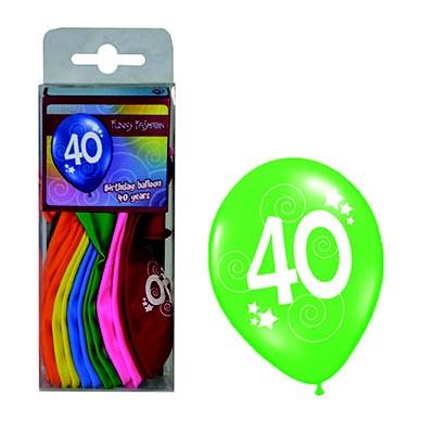 Balónky s číslem 40 barevné 12ks