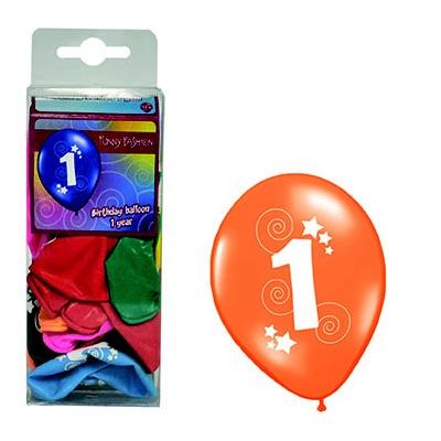 Balónky barevné - číslo 1 - 12ks