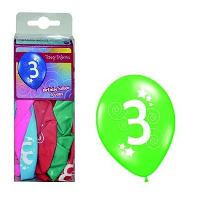 Balónky barevné číslo 3 - 12ks
