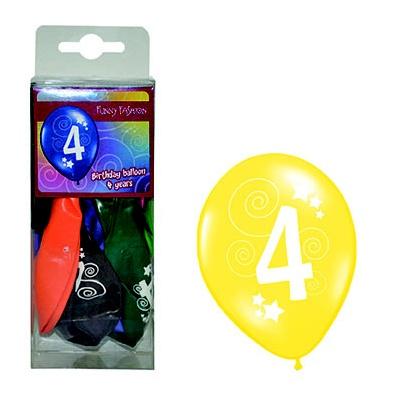 Balónky barevné - číslo 4 - 12ks