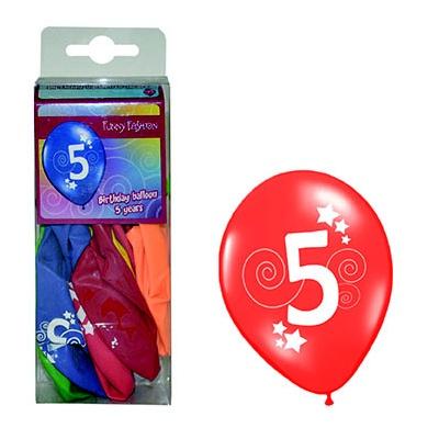 Balónky barevné číslo 5 - 12ks