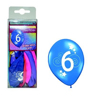 Balónky barevné číslo 6 - 12ks