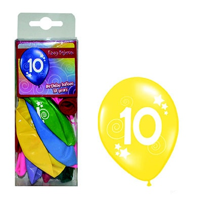 Balónky s číslem 10 barevné 12ks